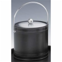 Kraftware 68768 Stitched Black 3 Quart Stitched Ice Bucket with Bale Handle and Metal Cover - 1
