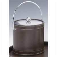 Kraftware 68868 Stitched Brown 3 Quart Ice Bucket with Bale Handle and Metal Cover