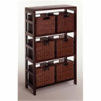 Winsome Leo 3-Section Storage Shelf and 6 Wired Baskets in Espresso - 1