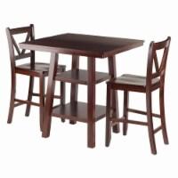 Orlando 3-Pc Set High Table, 2 Shelves w/ 2 V-Back Counter Stools