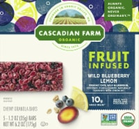 Cascadian Farm Organic Fruit Infused Wild Blueberry Lemon Chewy Granola Bars 5 Count
