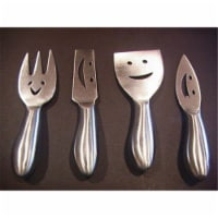 Prodyne Stainless Steel Cheese Knives, Happy Faces - Set Of 4