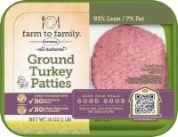 Butterball Farm to Family All Natural Turkey Burger Patties 93% Lean - 16 oz