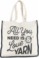 Lion Brand Canvas Tote Bag 14.5 X5 X15 -All You Need Is Love And Yarn - 1