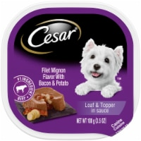 Cesar Filet Mignon Flavor with Bacon & Potato Loaf & Topper in Sauce Wet Dog Food