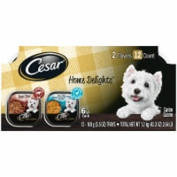 Cesar Home Delights Chicken & Vegetables and Beef Stew Wet Dog Food Variety Pack 12 Count
