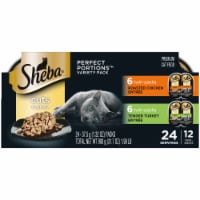 Sheba Perfect Portions Roasted Chicken & Tender Turkey Cuts in Gravy Wet Cat Food Multipack 24 Count