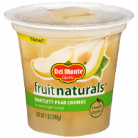 Del Monte Fruit Naturals Bartlett Pear Chunks in Extra Light Syrup Fruit Cup - 7 oz
