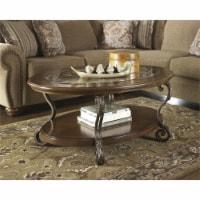 Ashley Furniture Nestor Oval Coffee Table in Medium Brown - 1