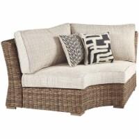 Ashley Furniture Beachcroft Curved Corner Patio Loveseat in Beige