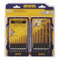 Irwin Jobber Length Drill Set,15pc,HSS HAWA 318015