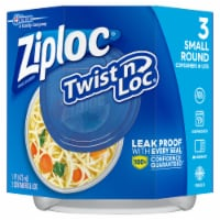 Ziploc Twist n Loc Round Storage Pint Containers & Lids - Clear/Blue