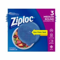 Ziploc One Press Seal 1.75 Pt Round Storage Container & Lids - Clear/Blue