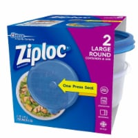 Ziploc Round Large Storage Container - 2 Pack - Blue/Clear