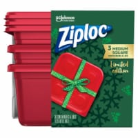 Ziploc Limited Edition Medium Square Containers & Lids - 6 pc -  Red