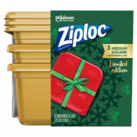 Ziploc Limited Edition Medium Square Containers & Lids - 6 pc - Gold