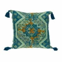 Parkland Collection Lotus Transitional Teal Throw Pillow - 1