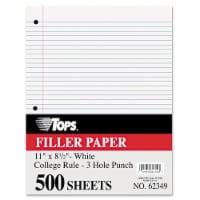 Filler Paper, 3-Hole, 8.5 x 11, Medium/College Rule, 500/Pack 62349 - 1