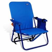 Copa Backpack Single Position Folding Aluminum Beach Lounge Chair, Dark Blue