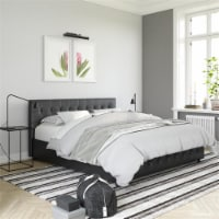 DHP Sherry Upholstered Bed in King Size Frame in Black Faux Leather - 1