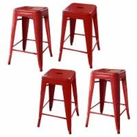 AmeriHome Loft Red 24 Inch Metal Bar Stool - 4 Piece