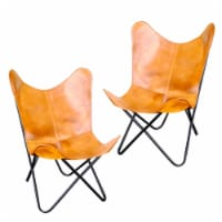 AmeriHome Natural Leather Butterfly Chair in Light Tan, 2 Piece Set