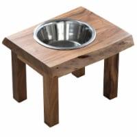 AMERIHOME ACACIA LIVE EDGE SINGLE  DOG PET FEEDER - 1 stand, 1 metal bowl
