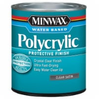 Minwax® Clear Satin Water Based Polycrylic Protective Finish - 1 qt