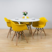 Modmade Round Paris Tower Table with Armchair 5 Piece Dining Set - Yellow - 1 unit