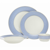 Godinger 64047 Gustav Dinnerware, Blue - 16 Piece