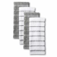 KitchenAid Albany Stripe Kitchen Towel Set - 4 Pack - Gray / Ivory - 16 x 26 in