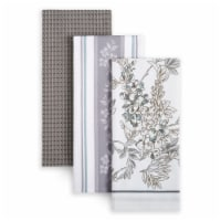 Martha Stewart Printed Iris Kitchen Towels - 3 Pack - Gray