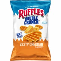 Ruffles Potato Chips Double Crunch Zesty Cheddar Flavor Snacks 7.75 oz Bag