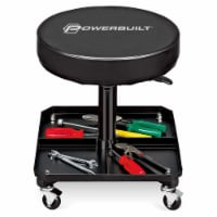 Powerbuilt Pneumatic Adjustable Height Roller Padded Stool Seat w/ Tool Tray