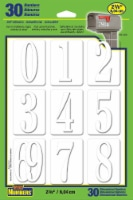 Hy-Ko Adhesive Dimensional Numbers - White - 30 Pack