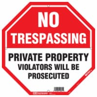 Hy-Ko No Trespassing Sign - Red/White - 12 x 12 in