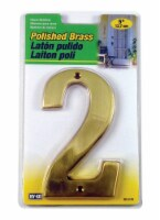 Hy-Ko 5 in. Gold Brass Number 2 Nail-On 1 pc. - Case Of: 1; Each Pack Qty: 1 - Count of: 1