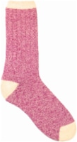 Amelia's Organic Legwear Women's Marled Body Crew Socks with Natural Tipping - Magenta