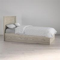 Sierra Ridge Levi Twin Bed with Storage & Twin Headboard, Light Walnut - Twin
