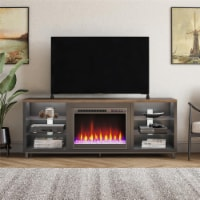 """Lumina Deluxe Fireplace TV Stand for TVs up to 70 , Black/Walnut - 66""""-70"""""""