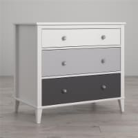 Monarch Hill Poppy White 3 Drawer Dresser, Grey Drawers