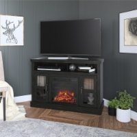 """Tinley Park Corner TV Stand with Fireplace for TVs up to 54"""", Black Oak"""