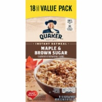 Quaker Breakfast Cereal Maple and Brown Sugar Value  Instant Oatmeal Variety Pack 18 Count