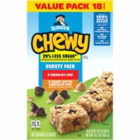 Quaker Chewy Less Sugar Granola Bar Variety Pack 18 Count