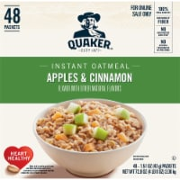 Quaker Apples & Cinnamon Flavored Instant Oatmeal Packets - 48 ct / 1.51 oz