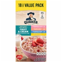 Quaker® Fruit and Cream Instant Oatmeal Value Variety Pack - 18 ct / 1.05 oz
