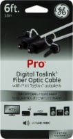 GE Pro Digital Toslink Fiber Optic Cable with Mini Toslink Adapters - Clear