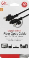 GE Digital Toslink Fiber Optic Cable with Mini Toslink Adapters - Black