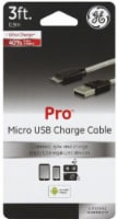 GE Pro Micro USB Charge Cable - White/Black