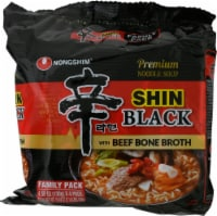 Nongshim Black Shin Noodle Soup Family Pack 4 Count
